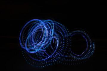 Blue lights on a black background