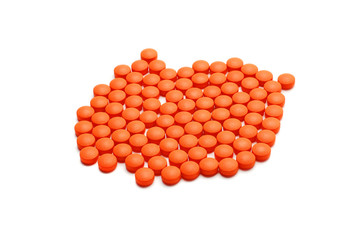 orange pills isolated
