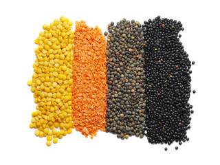 different types of lentil isolated