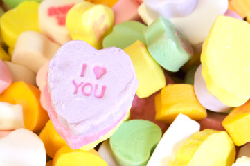 Valentines Day candy with message I love you