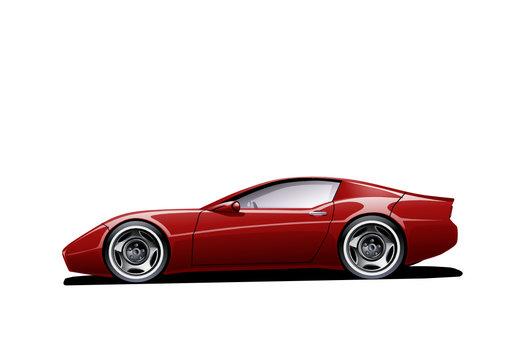 Roter Sportwagen (isoliert)