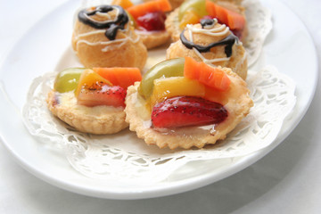 French pastry on white plate