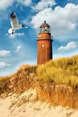 Fototapete - Ostsee Leuchtturm Prerow