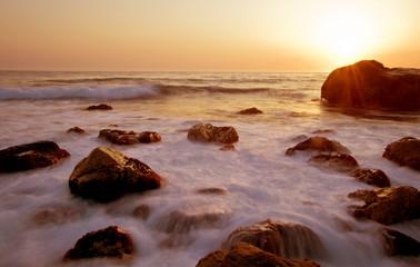 Long exposure, sea in motion at sunset, California dreams