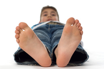 big feet from a happy boy