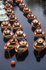 queue of boats on a river/lake