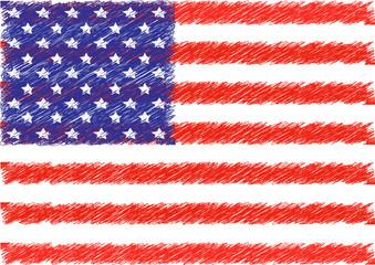 American flag scribble