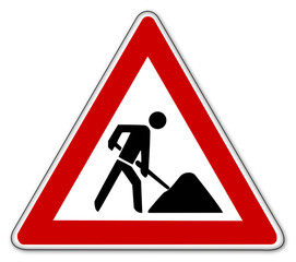 baustelle schild road works sign
