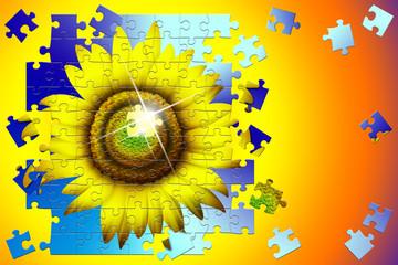 Girasole Puzzle-Fleur-Sunflower