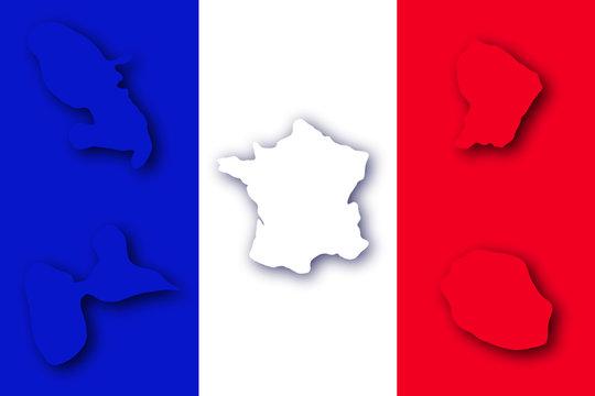 la france et 4 départements d'outre mer