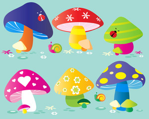 Set of colorful forest mushrooms