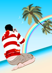working creative photographer on beach