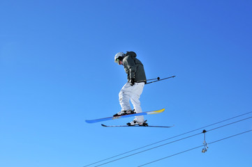 skier on high jump looking relaxed
