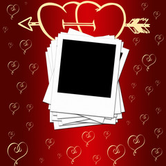 Blank photo frames on romantic background