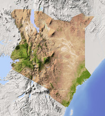 Kenya, shaded relief map, colored for vegetation