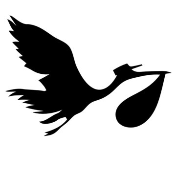 stork and baby silhouette vector