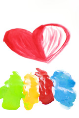 Red heart painted on white paper