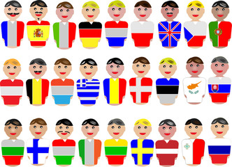 Representative people from the European Union and flags