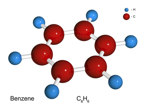 Isolated 3D model of a molecule of benzene