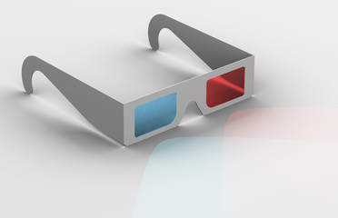 3-D Glasses with Light Showing Through Lenses