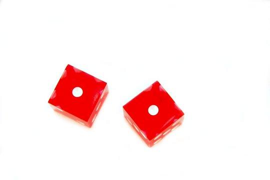 red dice snake eyes on white