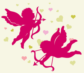 Silhouettes of Cupid for Valentine's day.