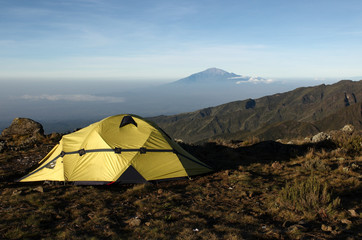 mount Meru, view from mount Kilimanjaro at sunrise. Tanzania.