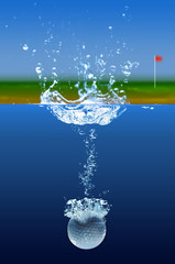 Golf Ball Splashing In Water