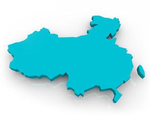Keuken foto achterwand Wereldkaart China Map - Blue