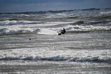 kiteboarding, kitesurfing in storm, labtic sea