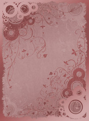 Floral background in red