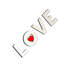 Love with heart isolated on white.