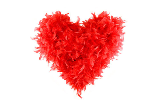 Fluffy Red Heart made of feather scarf isolated on white