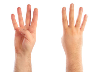 Male hands counting number 4