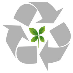 recycling symbol with green leaf inside