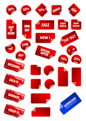 Big collection of vector sticky price labels for marketing and a