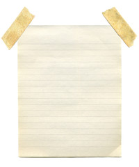 Old vintage yellowing notepaper stuck to a white background.