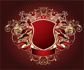 Retro shield with lion.