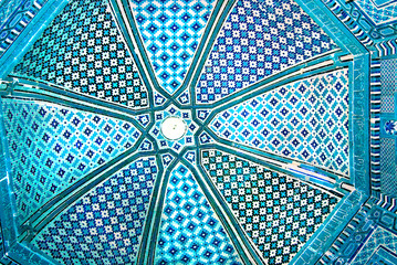 Dome of the mosque, oriental ornaments from Samarkand, Uzbekista
