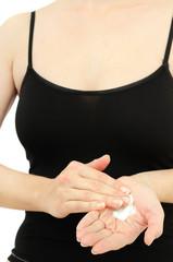 Applying of cream on hands