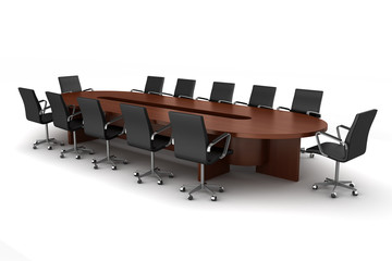 brown meeting table with black chairs isolated on white