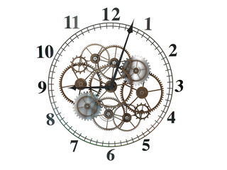 3d Clock with cogs on White