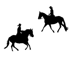 horses and riders - vector