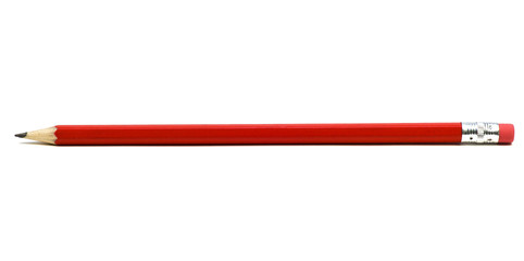 Red pencil with eraser on a white background.