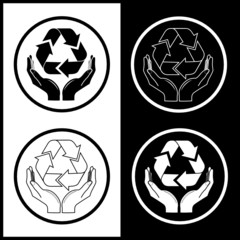 Vector recycle symbol in hands icons. Black and white.