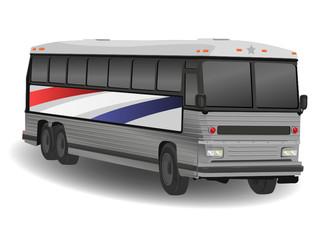 American Greyhound Bus Illustration on White
