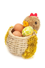 hen shaped basket with easter eggs