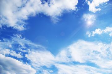 Clouds making a heart shape againt a sky