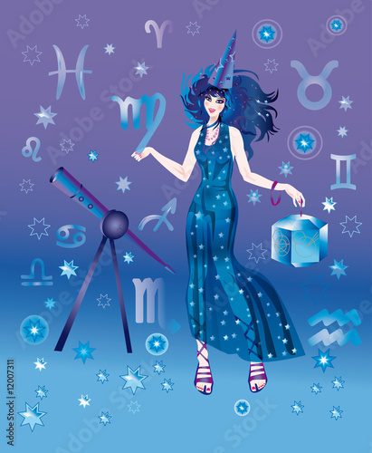 Girl-astrologer with sign of zodiac of Virgo character