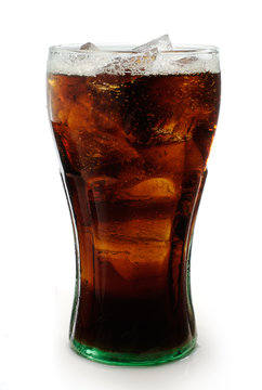 Glass of cola with ice isolated on white with clipping path